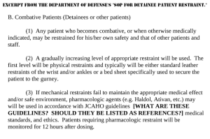 Excerpt from the Department of Defense's SOP for Detainee Patient Restraint